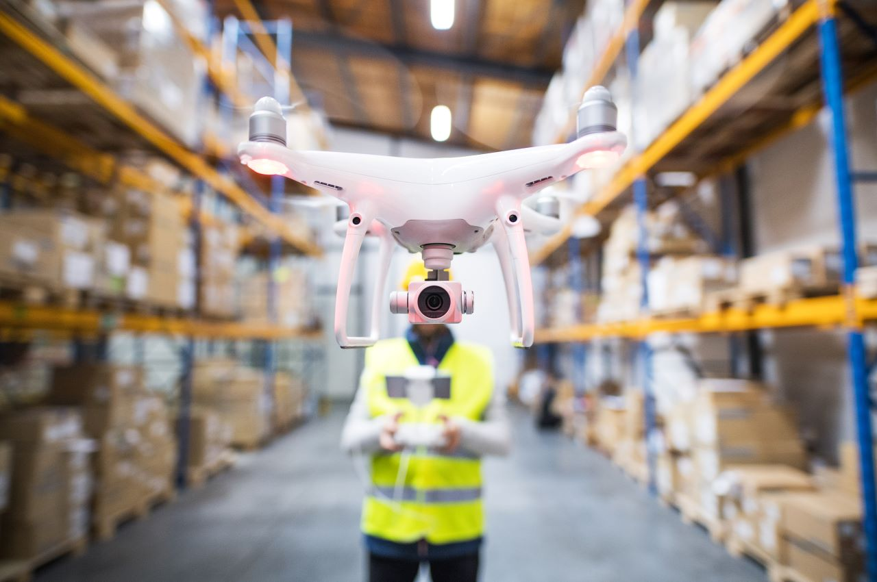 drone in a warehouse